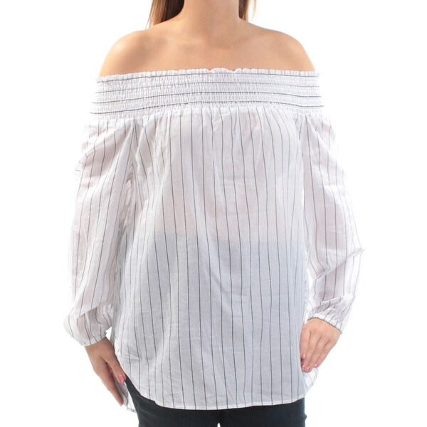 4abe35ae6e6b3a Shop MICHAEL KORS Womens White Sheer Shirred Pinstripe Long Sleeve Off  Shoulder Peasant Top Size  14 - On Sale - Free Shipping On Orders Over  45  ...