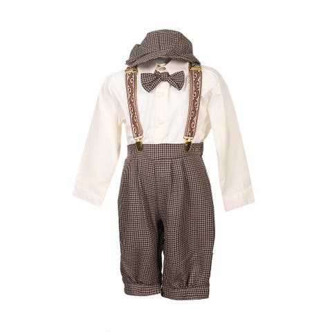 Rafael Collection Little Boys Dark Taupe 5 Pcs Suspender Hat Trendy Outfit