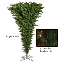 9' Pre-Lit Green Upside Down Artificial Christmas Tree - Multi Dura Lights