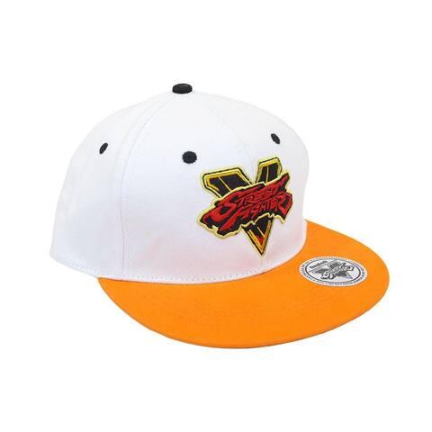 Street Fighter V Logo Embroidered Snapback Hat (White) - White