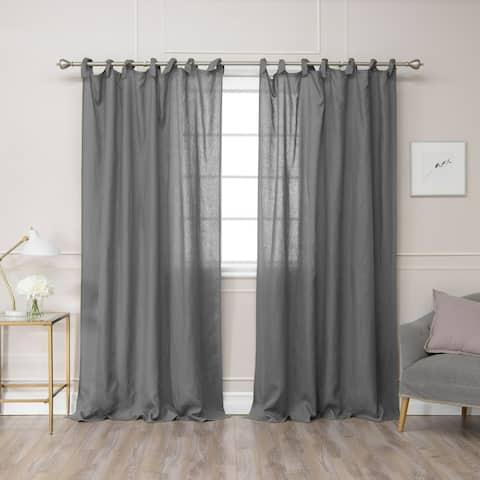 Aurora Home 100% Linen Romantic Tie Top Curtain Set