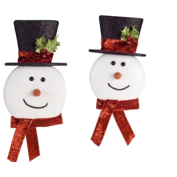Pack of 12 Decorative Glitter Foam Snowman Head Ornaments - WHITE
