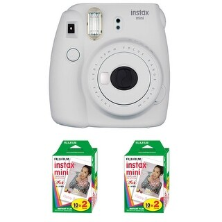 Fujifilm Instax Mini 9 (Smokey White) + 2 x Instant Film Double Pack