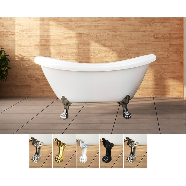 "Daphne 59"" & 69"" Clawfoot Tub White or Black Acrylic Five Feet Colors. Opens flyout."