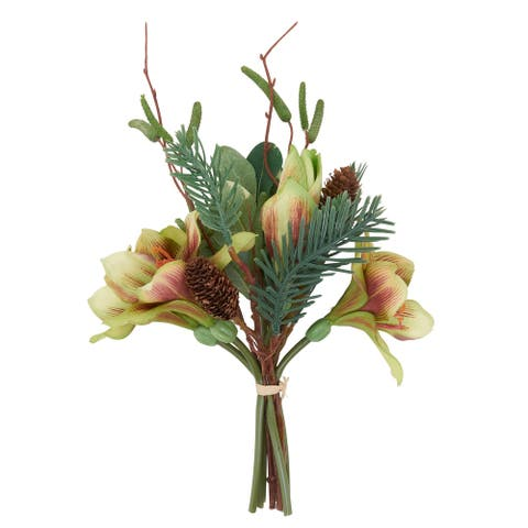 Artificial Bouquet with Amaryllis Pine Needle Design (Set of 12)