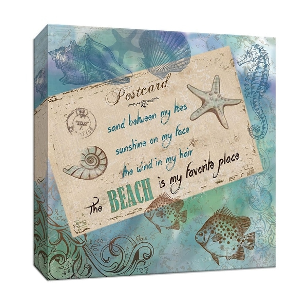 """PTM Images 9-146915 PTM Canvas Collection 12"""" x 12"""" - """"Postcard from the Beach I"""" Giclee Sayings & Quotes Art Print on Canvas"""