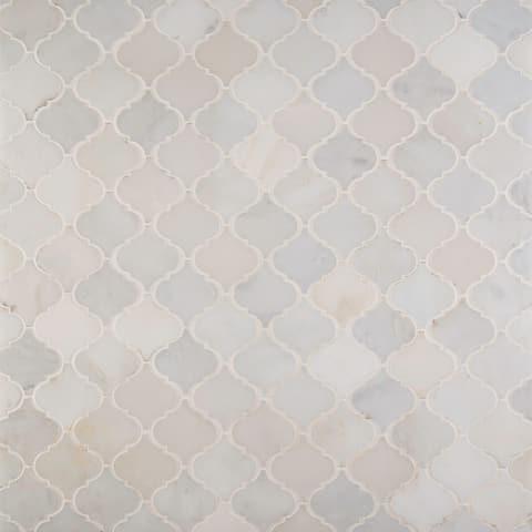 "MSI SMOT-AREBESQ Greecian White - 12"" x 12"" Arabesque Mosaic Sheet -"