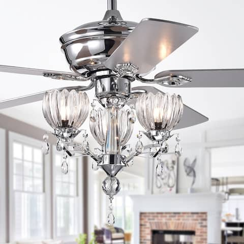 Silver Orchid Laurel 52-inch Chrome Lighted Ceiling Fan with Reversible Blades