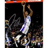 Jahlil Okafor signed Philadelphia 76ers 8x10 Photo white jersey leap