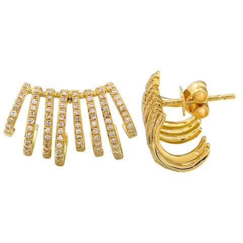 14k Yellow Gold Diamond Wide Caged Lobe Cuff Stud Earrings