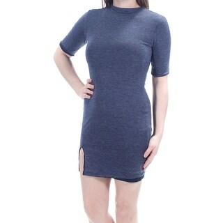 Womens Navy Short Sleeve Mini Body Con Casual Dress Size: 2XS