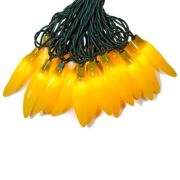 Wintergreen Lighting 71523 35 Bulb Chili Pepper Incandescent Decorative Holiday String Lights with Green Wire - YELLOW - N/A