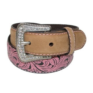 John Deere Girls' Crazy Horse Leather Pink Floral Embossed Belt - crazyhorse tan