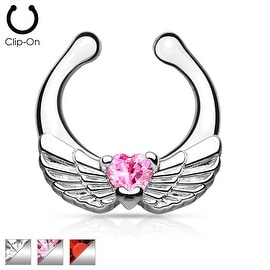 Angel Wings with Heart CZ Non-Piercing Septum Hanger (Sold Ind.)