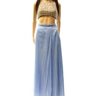 Xscape NEW Beige Blue Women's Size 2P Petite Embellished Skirt Set