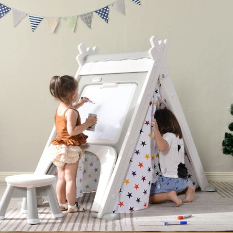 Siavonce 4 in 1 Teepee Tent with Stool and Climber - 59 x 34.3 x 47.5