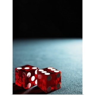 """""""Red dice on table"""" Poster Print"""