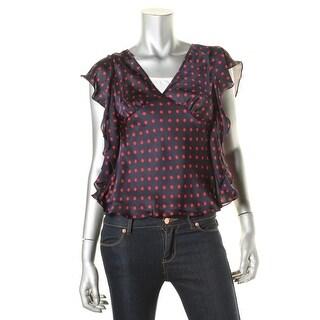 Lauren Ralph Lauren Womens Petites Silk Polka Dot Blouse - pp