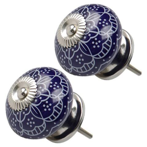 2pcs Ceramic Knobs Vintage Knob Drawer Round Pull Handle Furniture Drawer Cupboard Wardrobe Dresser Door Decorative, Blue