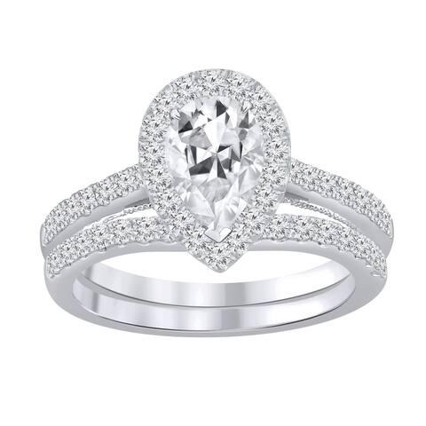 Auriya 1 3/4ctw Pear-cut Halo Diamond Engagement Ring Set 14k Gold