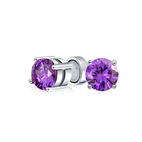 1CT AAA CZ Stud Earrings Clip On Magnetic Silver Birthstone Colors