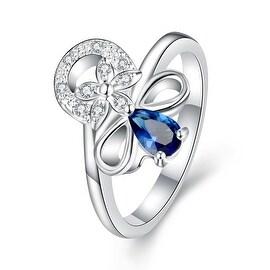 Petite Mock Sapphire Swirl Floral Emblem Ring