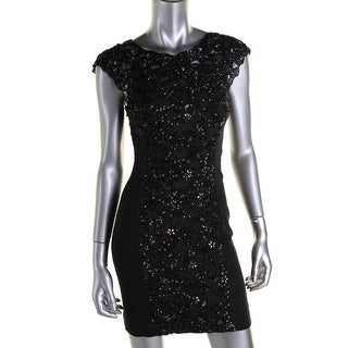French Connection Womens Cut-Out Beaded Cocktail Dress - 6
