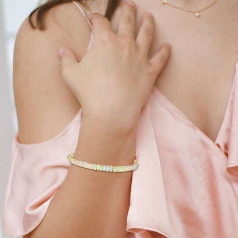 Evaluesell Handmade Sterling Silver/Gold Filled Opal Gemstone Bracelet - 13-16 Carat