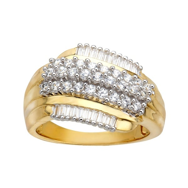 Ring with Cubic Zirconia in 18K Gold-Plated Sterling Silver