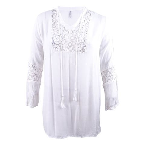 Raviya Women's Plus Size Crochet Cover-Up Dress - White