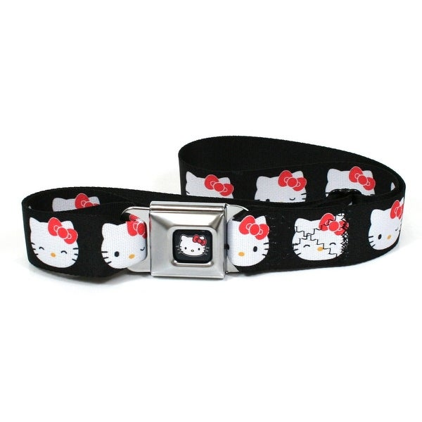 Hello Kitty Faces Black Seatbelt Belt-Holds Pants Up