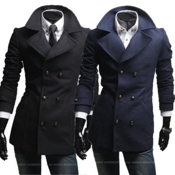 helical insert pockets double-breasted wide-lapel British men's wool coats