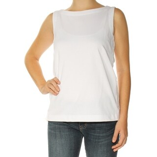 Womens White Sleeveless Boat Neck Top Size XS