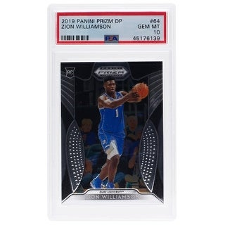 Zion Williamson Duke Panini Prizm #64 Rookie Card Slabbed PSA/DNA GEM MT 10