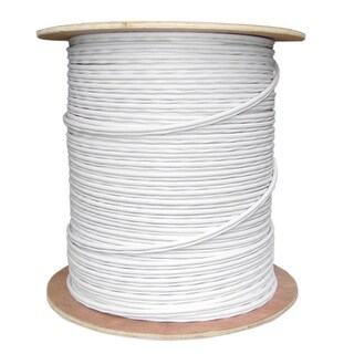 Offex Bulk RG59 Siamese Coaxial/Power Cable, White, Solid Core (Copper) Coax, 18/2 (18 AWG 2 Conductor) - 1000 foot
