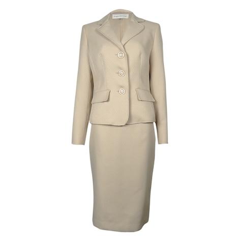 Evan Picone Women's Work Smart Textured Skirt Suit - Champagne