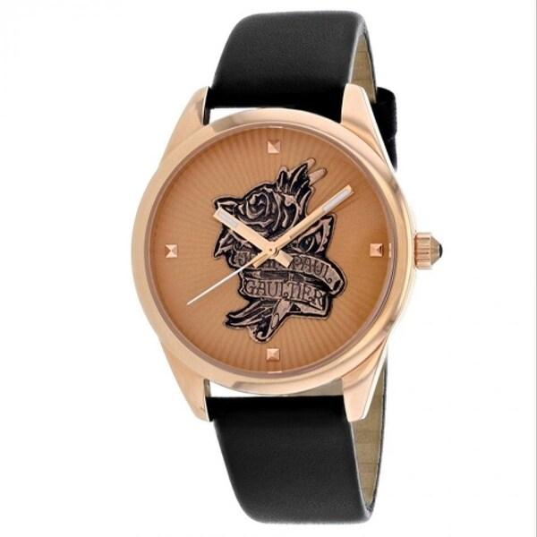Jean Paul Gaultier Women's 8502411 'Navy Tatoo' Black Leather Watch - Rose-Tone. Opens flyout.