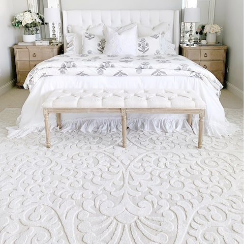 My Texas House Scrollwork High-low Area Rug by Orian Bluebonnets