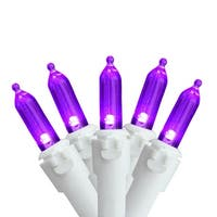 "Set of 50 Purple LED Mini Christmas Lights 4"" Spacing - White Wire"