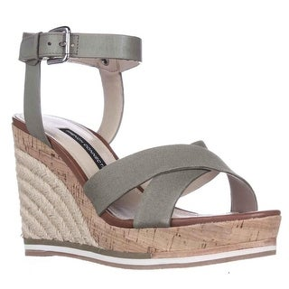 French Connection Lata Cork Espadrille Wedge Sandals, Shark Skin