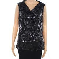 Nine West Black Womens Size Large L Shiny Polka Dot Tank Cami Top