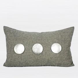 "G Home Collection Luxury Dark Gray Handmade Round Shell Pillow 12""X20"""