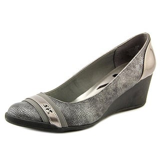 Anne Klein Sport 7Tresco 2 Women Open Toe Canvas Silver Wedge Heel