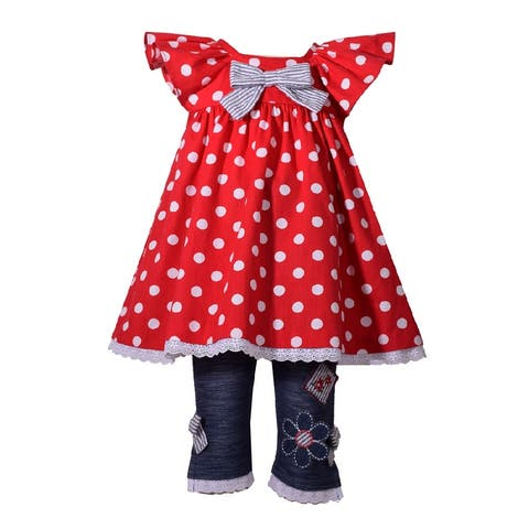 Bonnie Jean Red Polka Dots Flutter Sleeve Capri Outfit Baby Girls