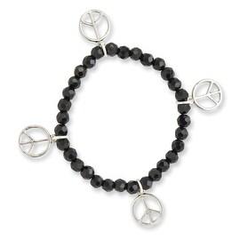 Silvertone Peace Charms on Black Crystal Beaded Stretch Bracelet