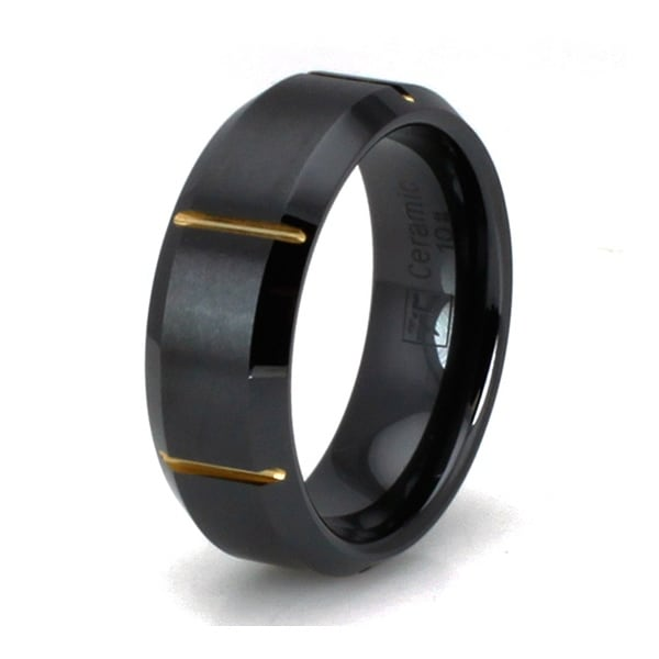Black Ceramic Ring with Brush Finish Center and Gold Plated Groove