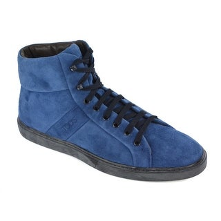 Tod's Men's Navy Blue Suede High Top Lace Up Sneakers