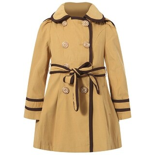 Richie House Girls' Orange Flared Top Coat with Chocolate Trim