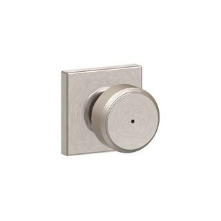 Schlage F40-BWE-COL  Bowery Privacy Door Knob Set with Decorative Collins Trim - Satin Nickel