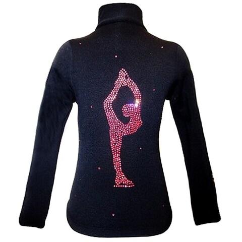 Ice Fire Skate Wear Black Jacket Pink Sparkle Applique Girl 4-Women L